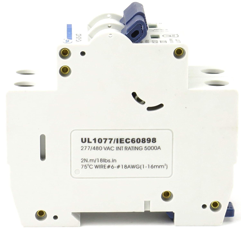 1 Pole, 1 Amp YC-1-1D with 6 Din Rail and 2 Screws Yuco Miniature Circuit Breaker D Curve 277//480VAC 115//220VDC