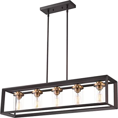 Zeyu 5-Light Kitchen Island Lighting, Modern Linear Pendant Light Fixture, Oil Rubbed Bronze and Gold Finish with Clear Glass