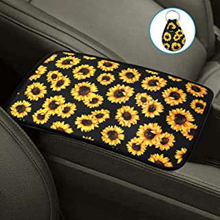 AFUNTA Sunflower Auto Center Console Pad & Key Chain, Universal Soft Comfort Center Console Pad, Compatible with Most Car, Sunflower Car Accessories
