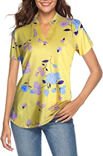 Women's Short Sleeve Floral V Neck Tops Casual Tunic Blouse Loose Shirt