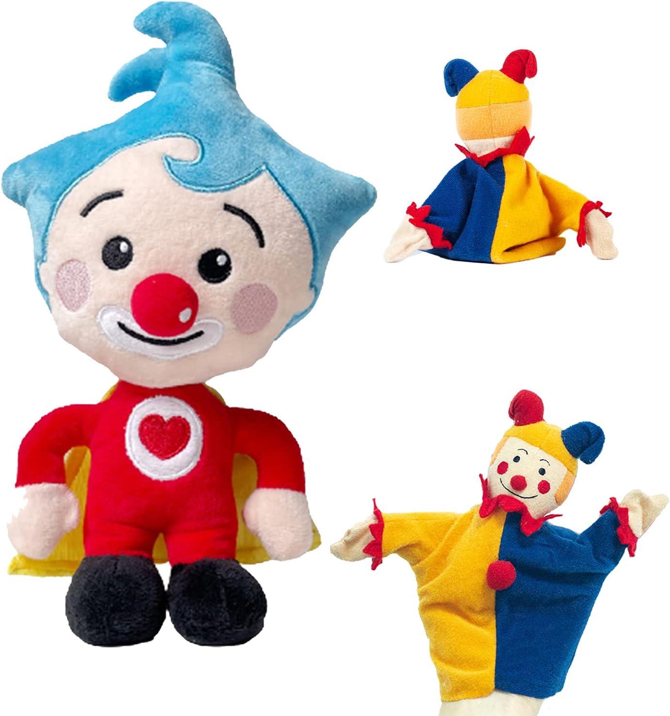 Juguete de payaso Plim Plim de 7.8 '', lindo peluche de animación Plim Plim con una muñeca de marioneta de payaso para niños y niñas