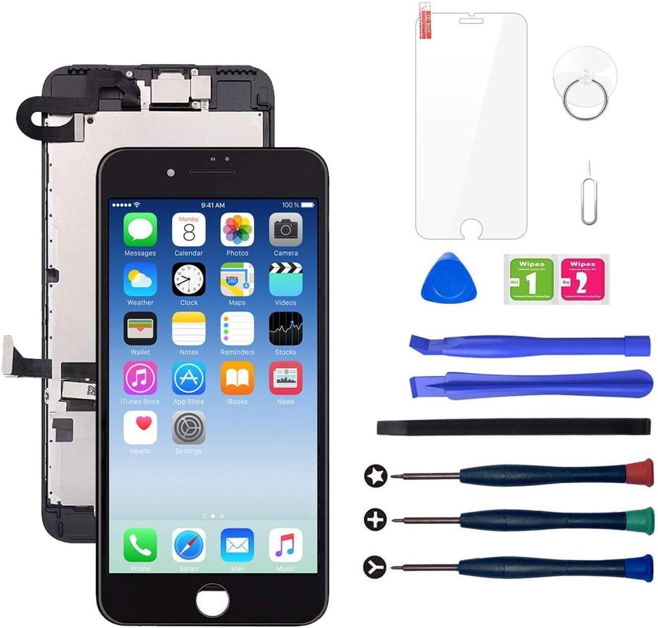 LWMTT Pantalla Tàctil LCD para iPhone 7 Negro– Táctil Reemplazo Digital Conjunto Completo Recambio Herramientas para la Reparación, Vidrio Protector
