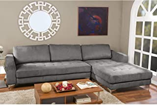 Contemporary Charcoal/Grey Fabric Right Facing Sectional Sofa Grey Modern Solid L-Shape Foam Wood
