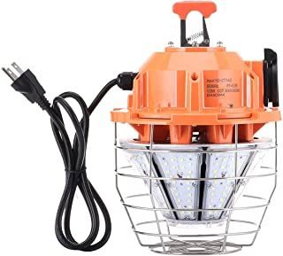 Led Temporary Work Light,12500Lumen LED High Bay Light, 5000K Outdoor Construction Lights with Stainless Steel Guard & Hook, LED Portable Hanging Lighting for Indoor Outdoor Jobsite (100W, 1 Pack)