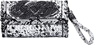 Premium PU Leather Solid & Snake Print Interlace Braided Clutch Bag Wristlet