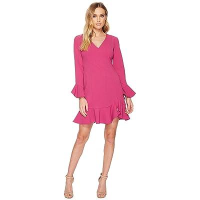Donna Morgan Long Sleeve Crepe Dress w/ Ruffle Hem and V-Neck (Raspberry) Women