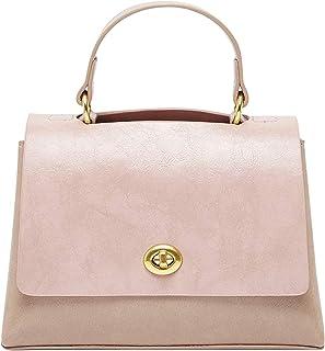 Solid Satchel Bag with Flap Closure