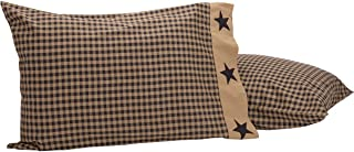 VHC Brands Primitive Bedding Black Check Star Pillow Case Set of 2, Standard