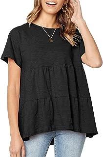 Women's Casual Short Sleeve T Shirt Tassels Sleeves Blouse