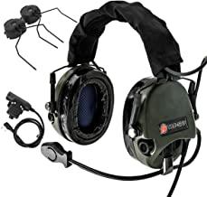 Tactical Headset,Airsoft Headphone with Silicone Earmuffs,Microphone and 1 Pair Helmet Adapter for Outdoor Sport,Army Green