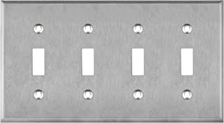 "ENERLITES Toggle Light Switch Metal Wall Plate, Corrosion Resistant, Size 4-Gang 4.50"" x 8.19"", UL Listed, 7714, 430 Stainless Steel, Silver"