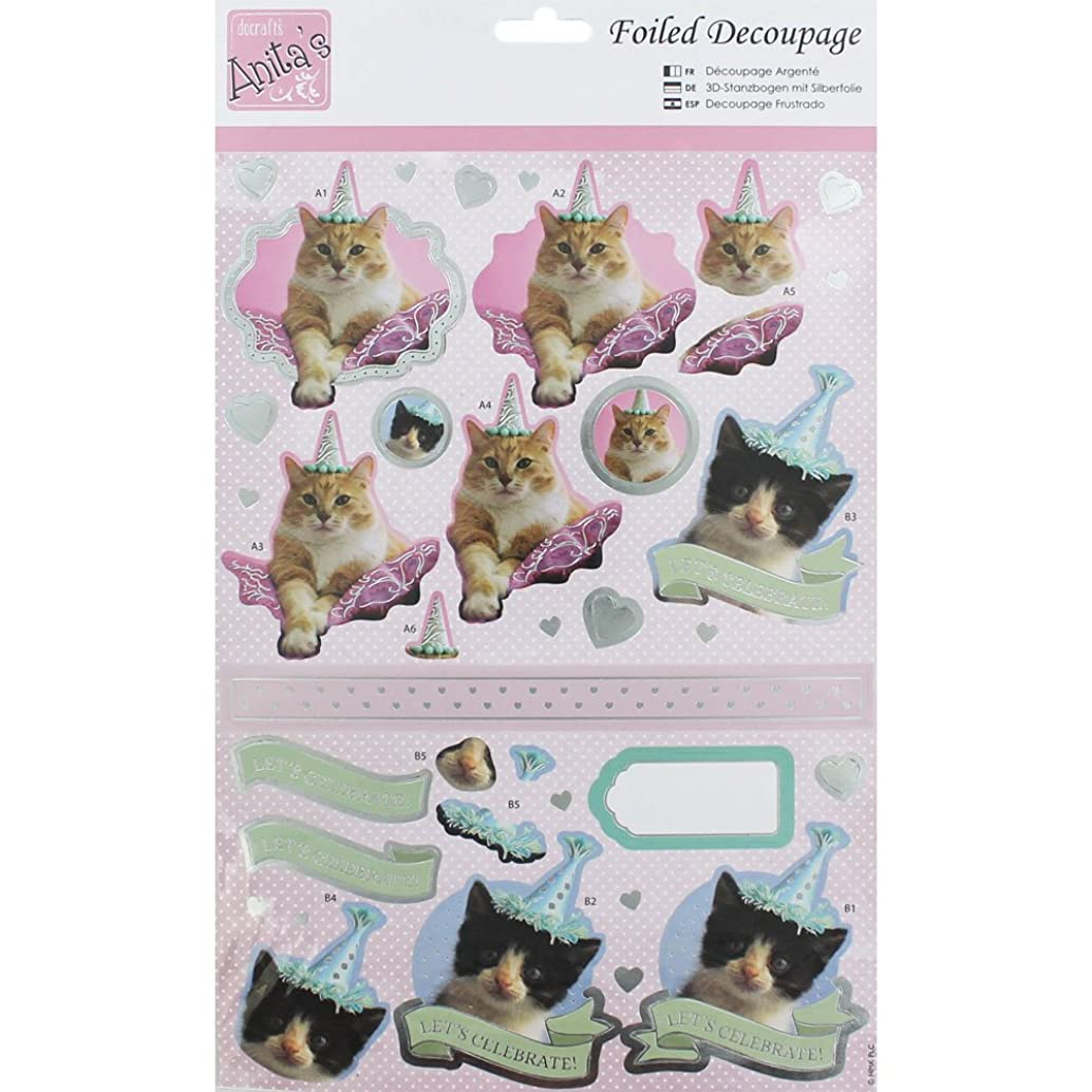 DOCrafts Anita's A4 Foiled Decoupage Sheet-Party Kittens