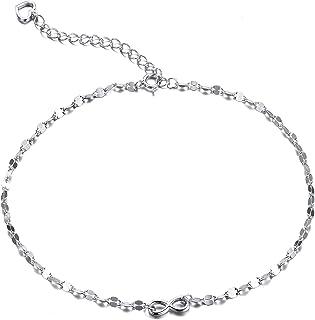 Tobillera con colgante Lacito de Plata Esterlina 925, de 28 cm, Ajustable para Mujer.