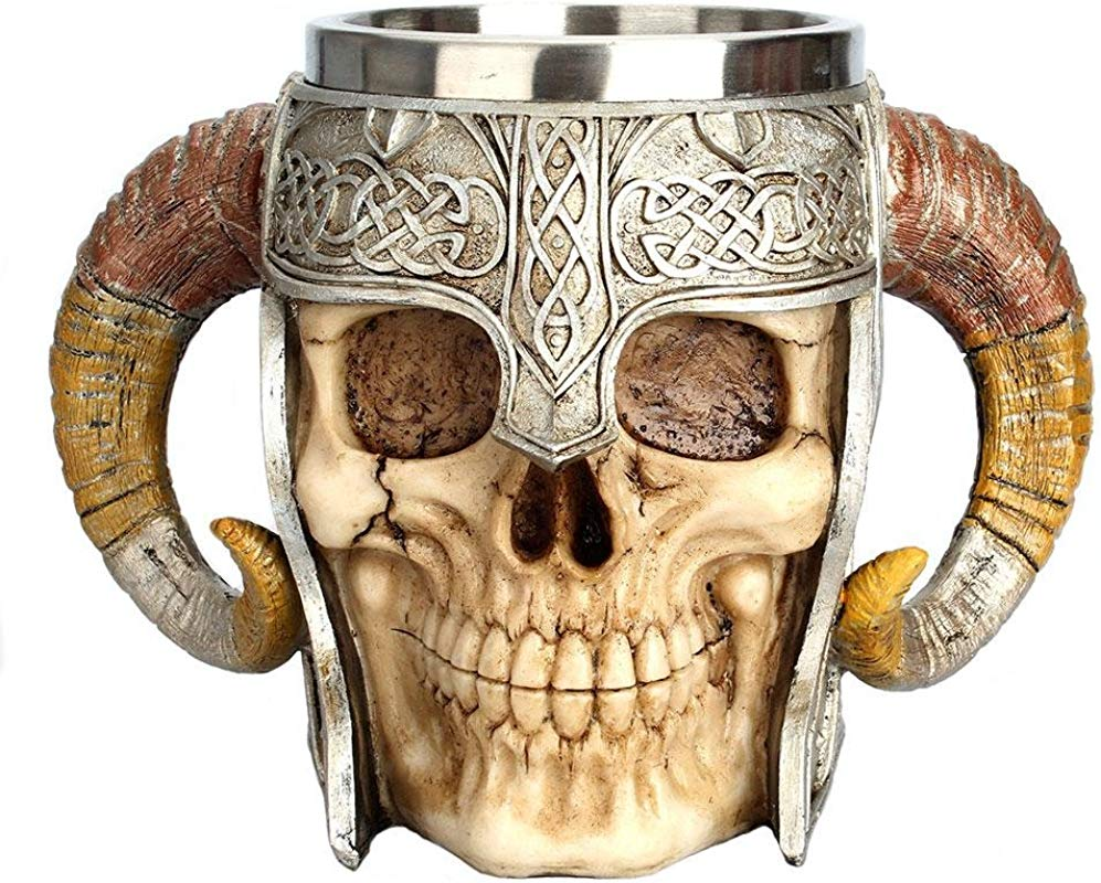 Viking Skull Mug Womdee Valhalla Warrior Mug Tankard Stainless Steel Beer Mug With Double Handle Horn Gift Mug For Men And Women 20oz 600mL