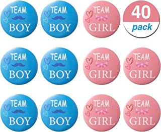 Favide 40 Pieces Gender Reveal Button Team Boy Girl Button Pins for Baby Shower Party Supplies, 2 Inches