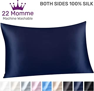 Sleep Mantra Silk Pillowcase Standard Size Navy-Blue - Soft Washable 100% Mulberry Silk 22 Momme Pillow Cover, Heavy Weight 20 x 26 Inch Pillow Sham for Perfect Hair Skin
