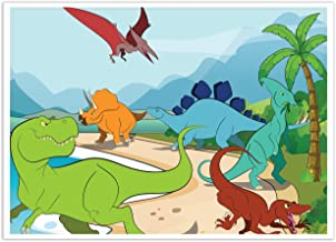 Blue Panda Dinosaur Background - Photo Booth Backdrop - Great for Dinosaur Theme Birthday Parties 5 x 7 Feet