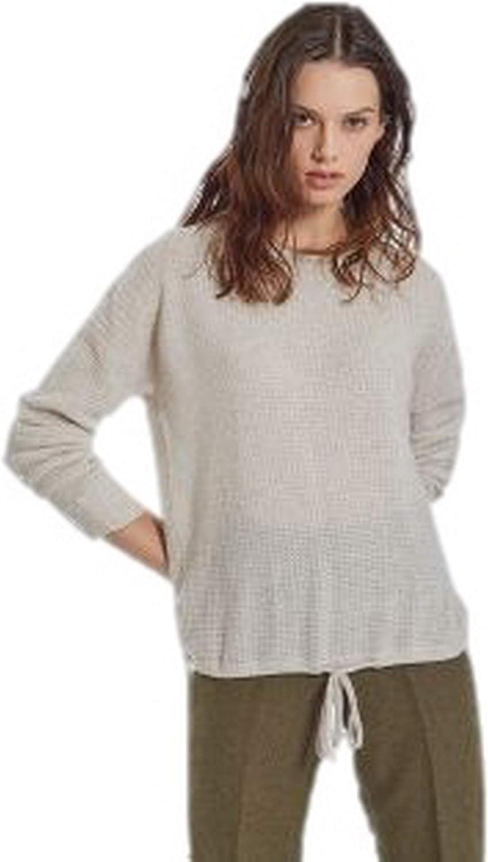 Autumn Cashmere Womne's Thermal Drawstring Cashmere Sweatshirt Mojave Sz M