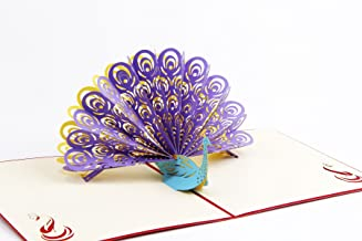 thanksgiving day card Peacock 3D Pop up Greeting Cards for Mother's Day/Happy Birthday cards/Wedding Anniversary Friendship Merry Christmas Thanksgiving (Purple, Pack of 1)