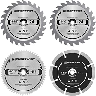 Enertwist 4-1/2 Inch Compact Circular Saw Blade Set, Pack of 4-Pieces TCT/HSS/Diamond Saw Blades Assorted for Wood/Plastic/Metal/Tile Cutting, 3/8
