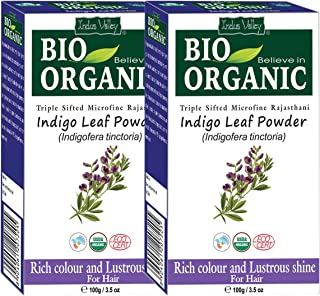Indus Valley Indigo Powder (Indigofera Tinctoria) Powder for Hair Color- Pack of 2 (200gm)