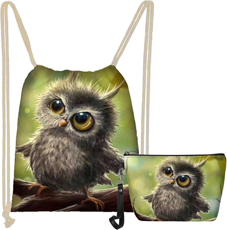 WELLFLYHOM 2-PCS Cute Owl Popularity Animal String for Ki Arlington Mall Bag Backpack Teen