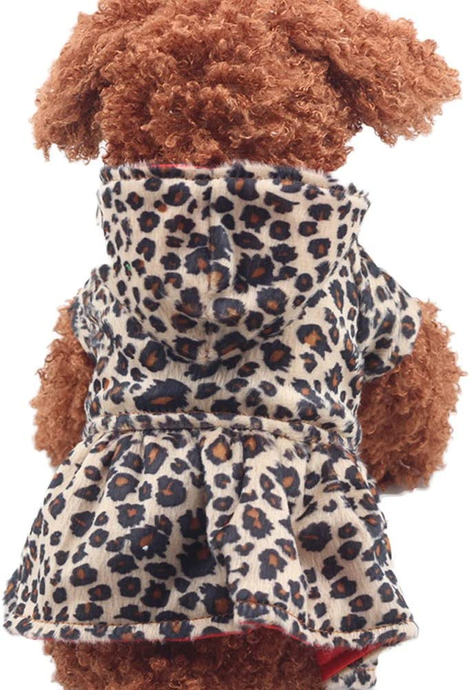 UYTGB Pet Clearance SALE! Limited time! Dogs Leopard Dress Thicken Neck Warm Hoodi Puppy Round Finally popular brand