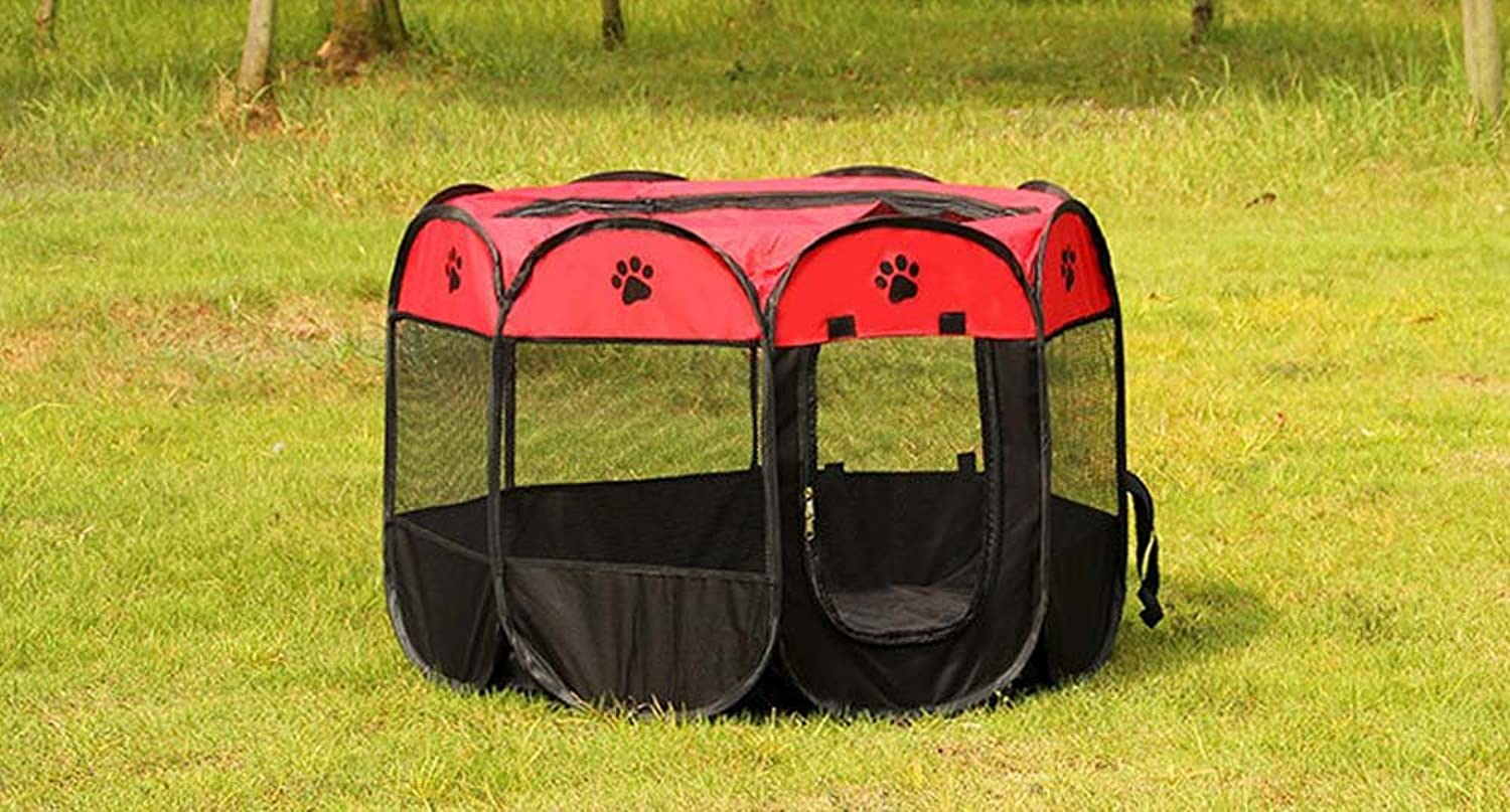 Mayco Bell Portable Foldable Pet Playpen Dog Cage Exercise Kennel Cats Indoor Outdoor Removable Mesh Shade Cover Eight Pannel (454523 Height Inches, Red Black)