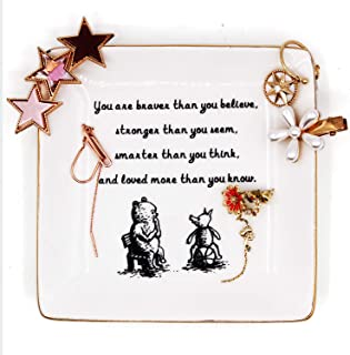 Inspirational Winnie The Pooh Quotes and Saying Ring Jewelry Holder Dish for sister friends Girl daughter Room Bedroom Decor