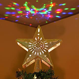 AerWo 3D Hollow Star Christmas Tree Topper, Lighted Glitter Gold Star Tree Topper with Rotating Magic Cool Rainbow Projector Lights for Christmas Tree Ornament Xmas Decorations