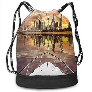 Seuriamin Kuwait City Skyline From Sailboat Majestic Sky Bundle Mouth Pocket Bag