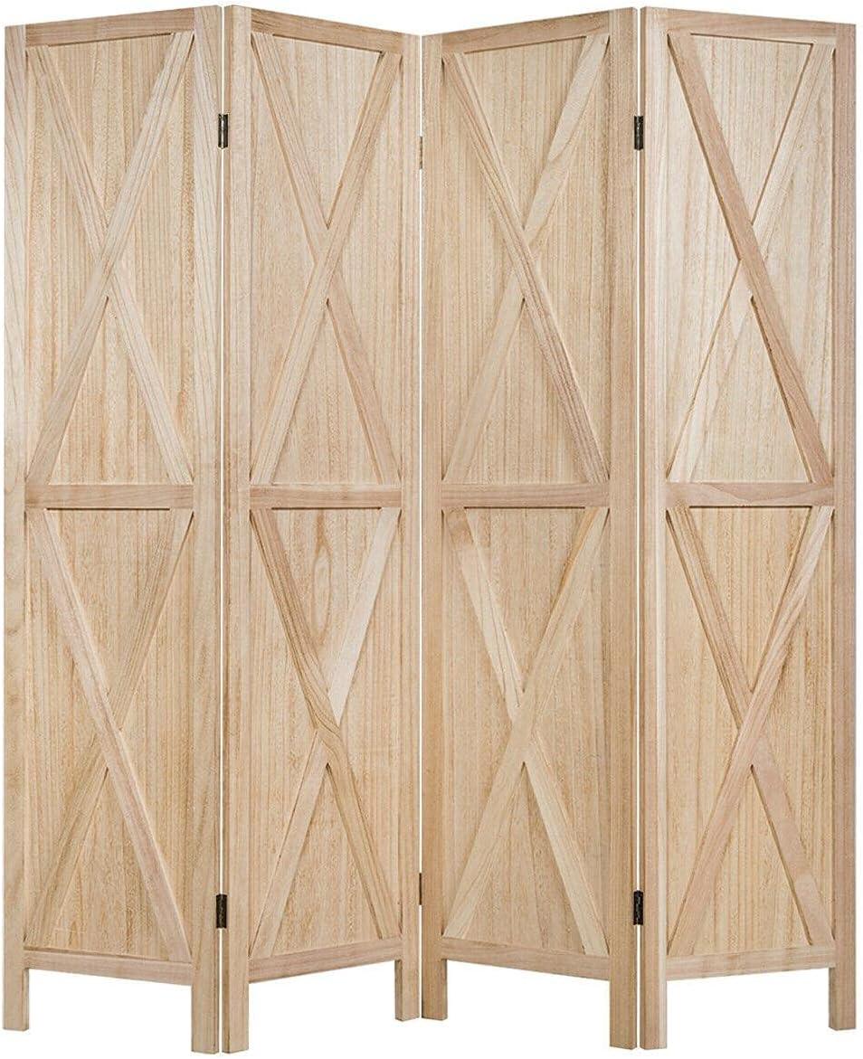 4 Panels Folding Wooden Room Divider R Overseas parallel import regular item X-Shaped W 5.6 Ft Design San Francisco Mall