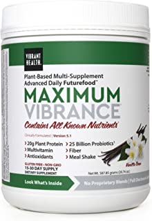 Vibrant Health - Maximum Vibrance, Plant-Based Meal Replacement Rich with Vitamins, Minerals, Antioxidants, and Protein, Gluten Free, Vegetarian, Non-GMO, Vanilla Bean, 15 Servings