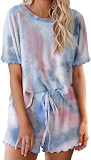 TAKIYA Women's PJ Set Loungewear Short Sleeve Tops Shorts Round Neck Tie Dye Printed Ruffle Sleepwear Nightwear