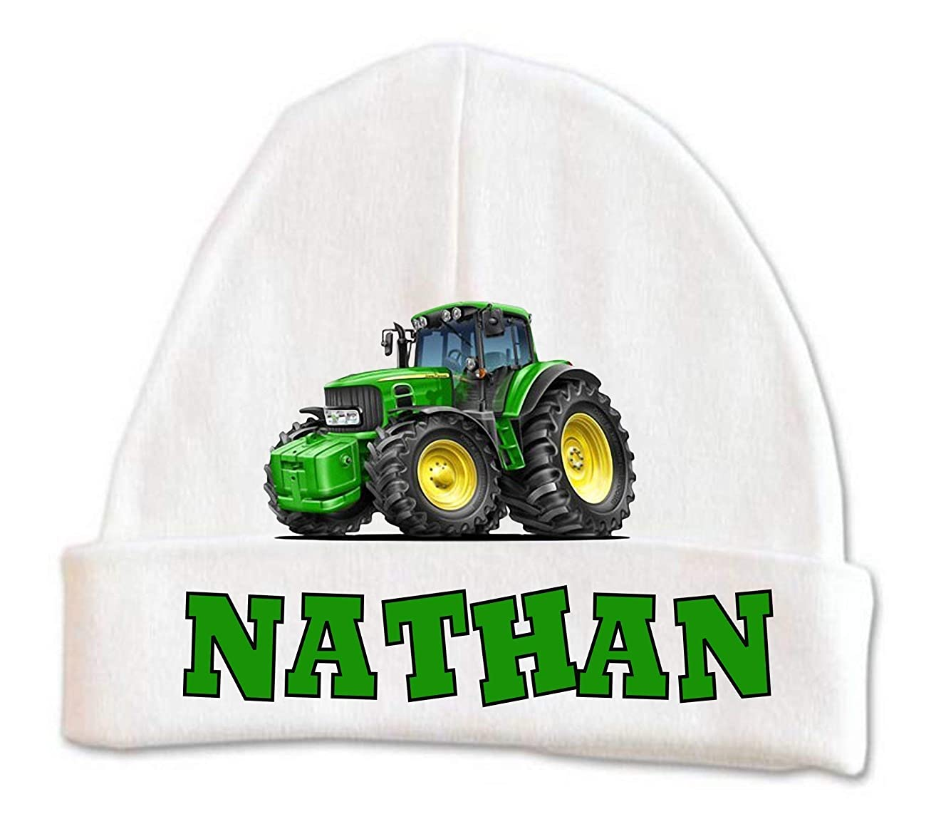 Cute Green Tractor Baby Beanie Hat Boys Winter Warm Custom Infant Newborn Personalized 0-6 months