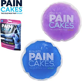 PAINCAKES Mini The Cold Pack That Sticks & Stays in Place- Reusable Cold Therapy Ice Pack Conforms to Body, 1 Set Mini (1 Purple, 1 Blue- 2.88