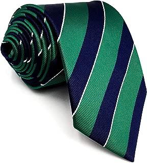 SHLAX&WING Stripes Mens Tie Blue Green Silk Neckties Business