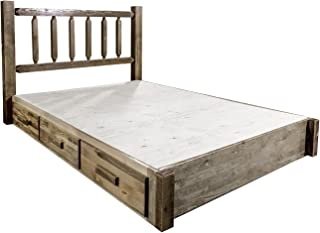 Montana Woodworks Homestead Collection King Platform Bed with Storage, Stain & Lacquer Finish