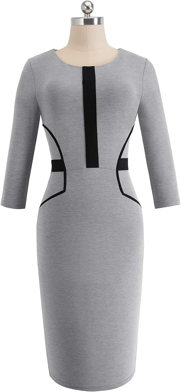 HOMEYEE Women's 3/4 Sleeve Color Block Sheath Slim Work Dress B480