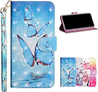 HMOON Wallet Case for Galaxy A9 2018, 3D Effect Blue Butterfly Pattern PU Leather Flip Cover [Magnetic Closure][Card Slots] Soft TPU Stand Protective Case for Samsung Galaxy A9 2018