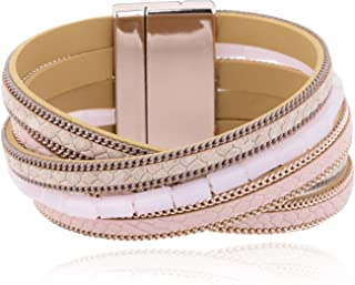 Plus Size Casual Leather Wrap Bracelet with Magnetic Clasp for Women,Lady,Wife Gift,Large Size