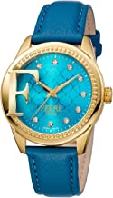 Ferre Milano Women'S Navy Dial Leather Band Watch Fm1L055L0021, Quartz, Analog