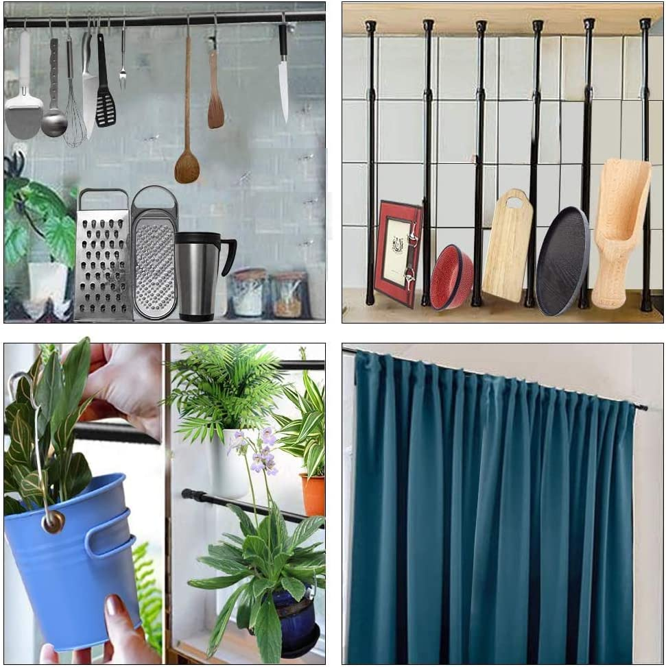 Black Bathroom,Cupboard,Wardrobe QILERR Small Tension Rods 15.7 to 28 Inches,2 Pack Spring Tension Rods,Adjustable Pressure Extension Spring Rods Closet Rod Cupboard Bars Tensions Rod for small Windows,Kitchen