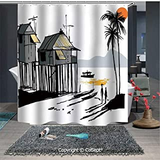 SCOXIXI Water Repellent and Washable Shower Curtain,Sketchy Fishing Village Malay in Singapore with Houses Canoe Palms Sun,for Bathroom(70.86
