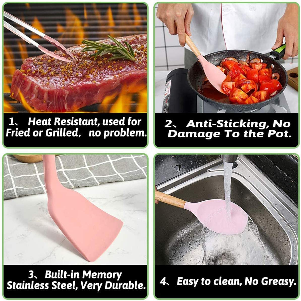 Whisk Turner Tongs Wonninek Kitchen Utensils Silicone and Wood Handle Heat-Resistant Non-Stick Cooking Tools 11Pack with Plastic Holder Spatula Ladle Brush Spoon Pink
