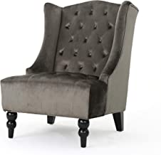 Christopher Knight Home Talisa | Tall Winged Tufted New Velvet Accent Chair |, Grey