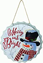 Vintage Galvanized Metal Bottle Cap Ornament Snowman Christmas Sign - Hanging Holiday Decoration