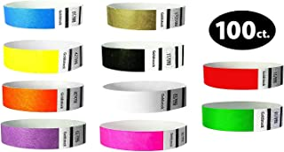 """Tyvek Wristbands– Goldistock """"Top 10"""" 100 Ct. Variety Pack- ¾"""" Arm Bands- 10 Each: Green, Blue, Red, Yellow, Orange, Pink, Purple, Gold, Black, White- Paper-Like Party Armbands- Event Wrist Bands"""