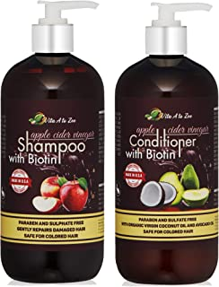 Apple Cider Vinegar & Biotin Shampoo & Conditioner (2 x 16oz) | Infused with Aloe Vera Juice, Argon Oil & Saw Palmetto Extract | Balances pH, Condition, Strengthen, Moisturize & Remove Build-up