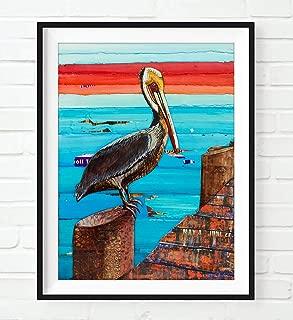 Layover - Pelican on Beach Pier -Danny Phillips Art Print, Unframed, Mixed Media Collage Painting, Nautical Coastal Beach Artwork Wall Decor, Fine Art Poster, 8x10 Inches